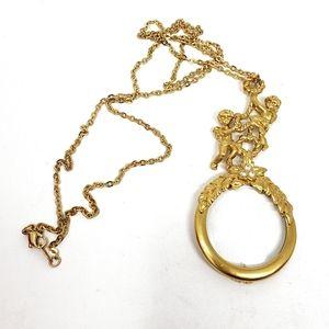 VINTAGE AVON Cherub Angel Gold Glass Necklace EUC